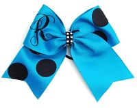 Custom Glitter Monogrammed Personalized Polka Dot Cheer Bow