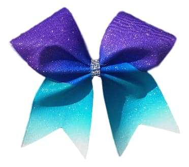 purple to turquoise ombre cheer bow