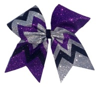Purple Silver and Black Glitter Sparkle Chevron Cheer Bow