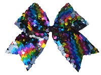 Rainbow Reversible Sequin Cheer Bow