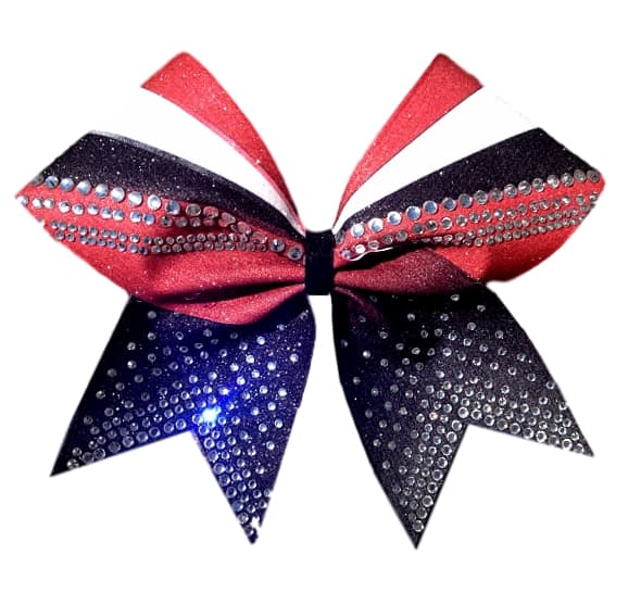 Red Black and White  Rhinestone Sublimation Bow