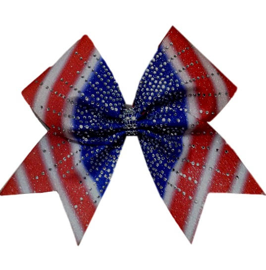 sublimation red white and blue patriotic glitter rhinestone cheer bow