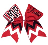 Personalized Custom Varsity Monogrammed School Chevron Cheer Bow