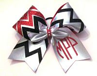Custom Circle Chevron Personalzed Metallic Cheer Bow