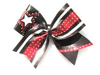 Red Silver and Black Rhinestone Elite Star Cheer Bow