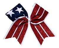Red White and Blue Patriotic Flag Cheer Bow