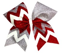 Red Silver and White Chevron Glitter Cheer Bow