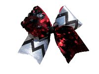 Red Black and Silver Reversible Sequin Chevron Cheer Bow