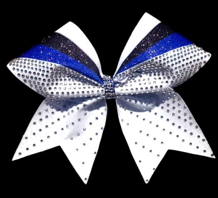 Royal Blue Black and White Rhinestone Sublimation Bow