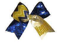 Royal Blue Sequin Cheer Bow with Gold Chevron and Monogram