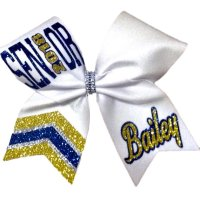 Two Colored Glitter Custom Jeweled Tail Senior Bow