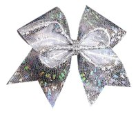 Silver Holographic Cheer Bow