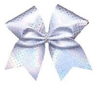 Silver Cheer Bow with Holographic Dots