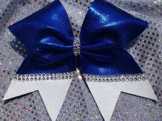 Custom Split Mystique and Glitter Bow Outlined With Jewels