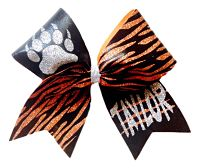 Custom Tiger Paw Print Glitter Cheer Bow