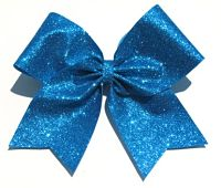 Super Turquoise Glitter Cheer Bow