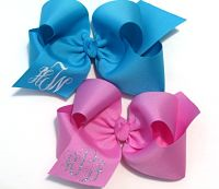 Personalized Vine Monogrammed Huge Boutique Hair Bow