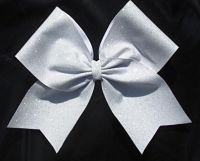 Pure White Glitter Girls Cheerleading Hair Bow