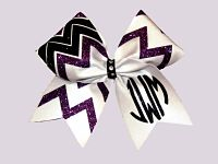 White Purple and Black Chevron Monogrammed Cheer Bow