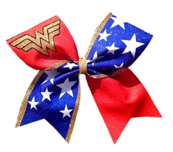 Wonder Woman Glitter Cheer Bow